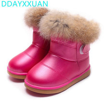 2017 Winter Plush Baby Girls Snow Boots Warm Shoes PU Leather Flat With Baby Toddler Shoes Outdoor Snow Boots Girls Kids Shoe(China)