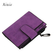 Women Mini Grind Magic Bifold Leather Wallet Card Holder Wallet Purse Women's Long Design Purse Three Fold More Color Clutch(China)