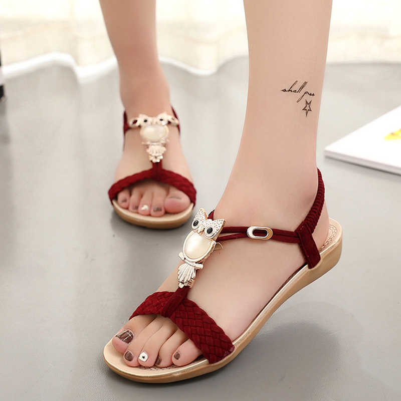 3dfb3a32491697 New Women Sandals Summer Fashion Flip Flops Female Sandals Flat Shoes  Bohemia Casual Ladies Beach SandalsWomen