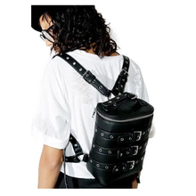 Europe and the United States street rock punk belt metal buttonhole pu leather shoulder backpack men and women