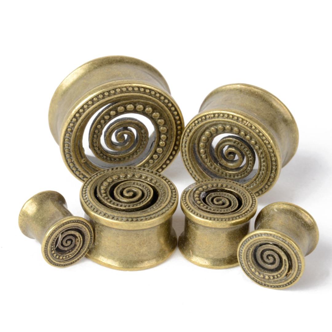 1Pair Vintage Antique Brass Ear Flesh Tunnel Shellhard Hollow Flower Double Flare Ear Plug Gauge Piercing Body Jewelry