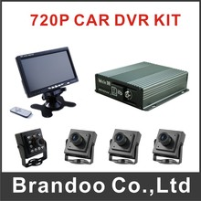 4CH CAR DVR Mobile DVR kit With 64GB SD Card 4 pcs AHD Camera 7 inch LEC Monitor