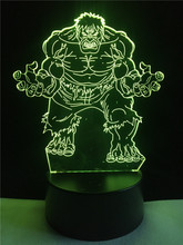 Marvel's The Avengers Super hero Creative 3D Hulk Night Light Acrylic Colorful Gradient LED Lamp Desk Table Light Boy Kid Gifts(China)