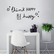 1pcs PVC Wall Sticker 58*24CM Think Happy Black Classic Easy To Install Remove Bedroom Living Room Decor(China)