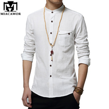 5XL Cotton Linen Men Shirt New 2017 Stand Collar Casual Male Shirt Slim Fit Mens Shirts Long-Sleeve Camisa Hombre MC250(China (Mainland))