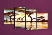 free shipping 100% handmade 4 Panel Elephant oil painting on canvas wall art picture for living room unframe