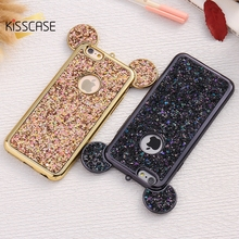 KISSCASE Bling Paillettes Case For iPhone 6 6s 7 Plus Cases Luxury Glitter Sequin Mickey Ear Cover For iPhone 7 6 6s Plus Case