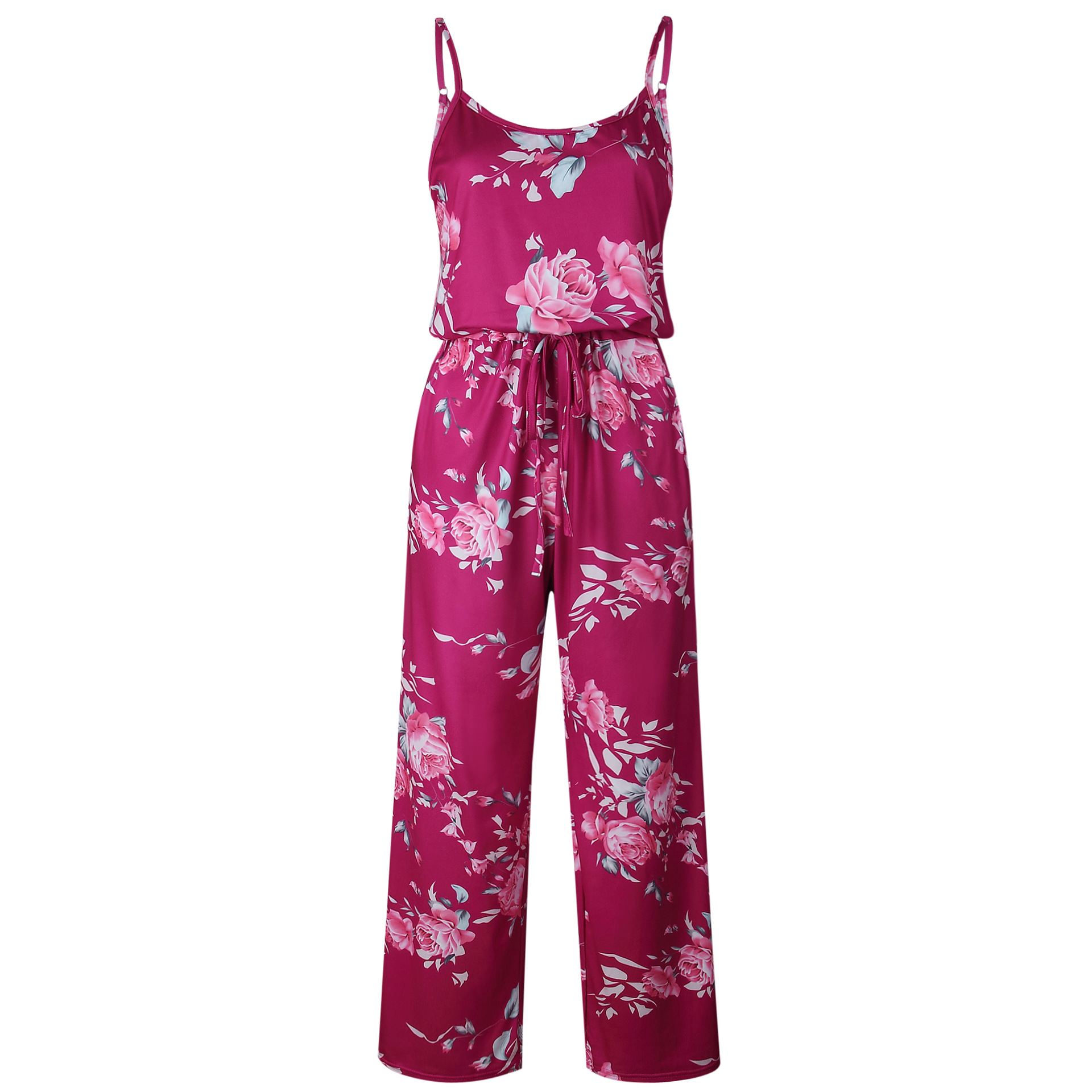Spaghetti Strap Jumpsuit Women 2018 Summer Long Pants Floral Print Rompers Beach Casual Jumpsuits Sleeveless Sashes Playsuits 36