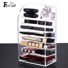 Clear 8 layer lipstick case Acrylic lipstick holder case Cosmetic Organizer Makeup Storage Nail polish Display Stand(China)