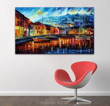 Blue Harbor Sea Painting Picture Night View On Canvas Print Wall Art Home Decor