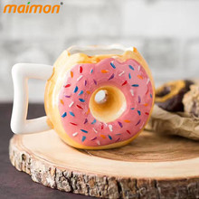 Korean Cute Donuts Coffee Mug Creative Ceramic Mug Home Office Adult Kids Porcelain Milk Water Drinking Mug Gifts Pink Brown(China)
