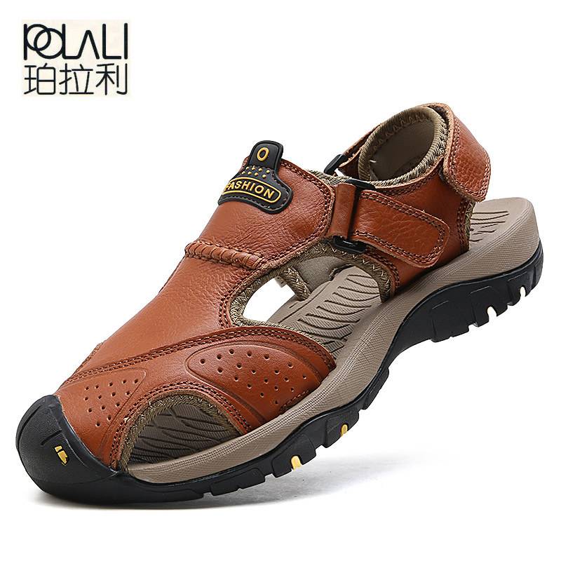 POLALI Mens Sandals Genuine Leather Summer 2017 New Beach Men Casual Shoes Outdoor Sandals Plus Size 38-46