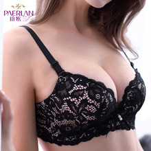 Buy PAERLAN Wire Free Lace Bra 5/8 Cup Push Small Chest Gathers Adjustable Deep V Sexy Back Care Floral Women underwear