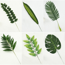 Hot sale High quality Artificial Monstera palm tree Leaves green Plastic leaf wedding DIY decoration Flowers arrangement plant(China)