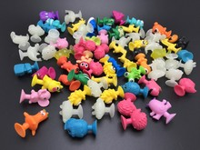 50pcs Mixed Action Figures Toy LIDL Soft Rubber Sucker kids Toys.Mini Cupule Cup Suction Capsule Monster Animals Model