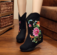 2017 Panic Buying Black Mid-Calf Boots Women Round Toe Embroidery Winter Shoes Ladies Boots Big Size SMYXHX-D0087