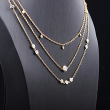 Transgems Fine Jewelry Moissanite 1.75CTW Choker Necklace for women Necklace 18K Gold Chain Accessories Gift Free Shipping