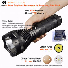 Rechargeable searching flashlight Lumintop SD75 Cree XHP70 LED max. 4000LM Beam Distance 650 meter torch with aluminum carry box(China)