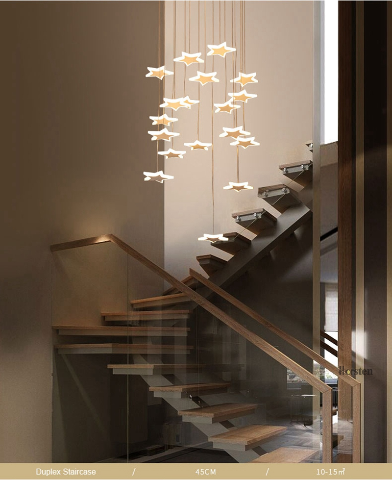 Modern Duplex Staircase LED Pendant Lights Personality 18 Stars Hanging Lamps Minimalist Rotaion Staircase Lamp Living Room Lighting (4)