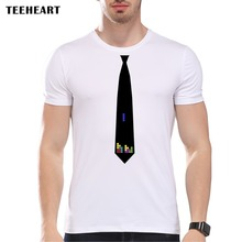 TEEHEART Men Short Sleeve Brand Design Summer Male Tops Tees Fashion Tetris Tie Top Tees PA424(China)