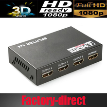 4 port HDMI splitter 1X4 HDMI Distributor HDMI 1 in 4 out 3D&full HD1080P with power supply for HDTV,DVD player,PS4 etc.