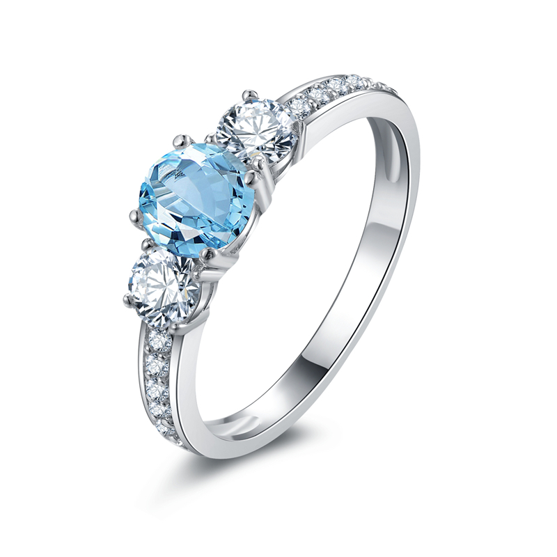 2019 Ainuoshi 3 Stone Ring Natural Blue Topaz Ring Engagement