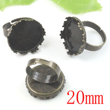 100pcs Antique Brass Pad Open RING Base Round Lacework Cabochon Base 20mm