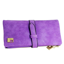 SNNY NEW Women Wallets fashion trends pumping frosted multi-card pu leather two fold wallet lady Ms. Long purse card Purple(China)