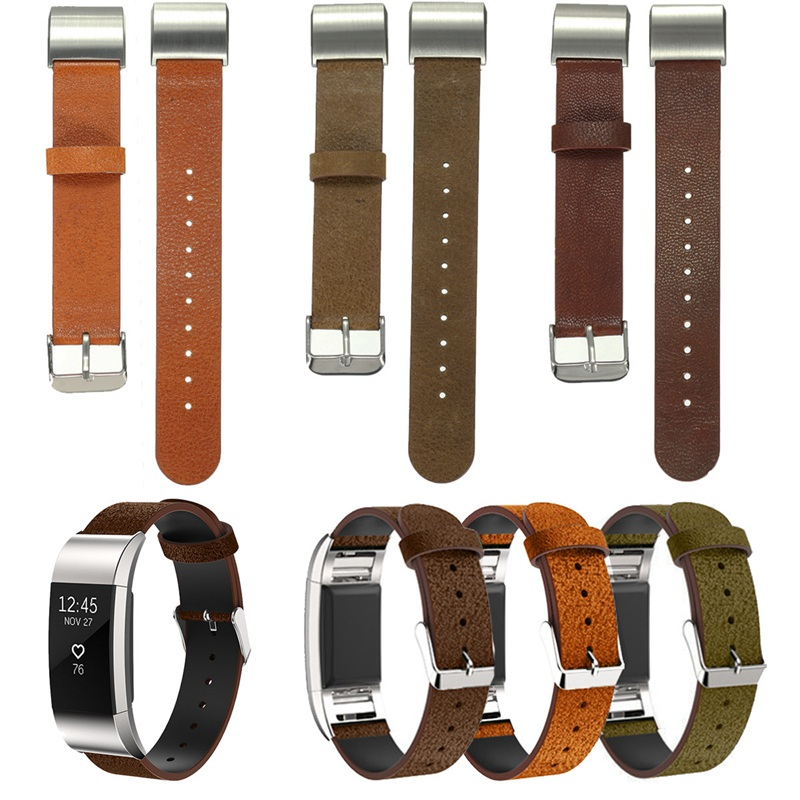 New Replacement Genuine Leather Cowhide Watch For Fitbit Charge 2 WristBand Leather WatchBand Strap Wide Clasp Hole<br><br>Aliexpress