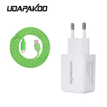 5v 2a EU Charger Adapter nylon cord micro usb cable for Samsung Galaxy huawei xiaomi lg htc Universal Android Phone accessories