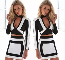 Hot selling Sexy lady dress bodycon dresses colorful and Luxury V-Neck style Black White mix in stocks 2 pieces set A773