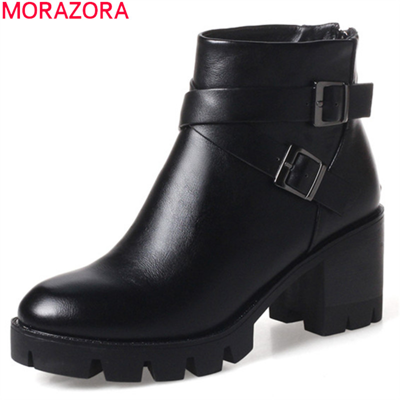MORAZORA black brown new arrive women boots zipper buckle platform ladies ankle boots round toe autumn winter boots<br>