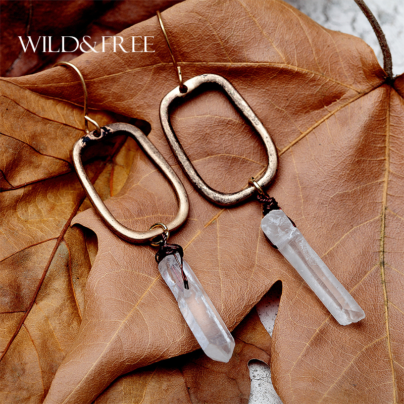 WILD & FREE Women Natural Stone Drop Earrings Vintage Antique Gold Geometric Shape Europe Crystal Dangle Earrings Jewelry Gifts