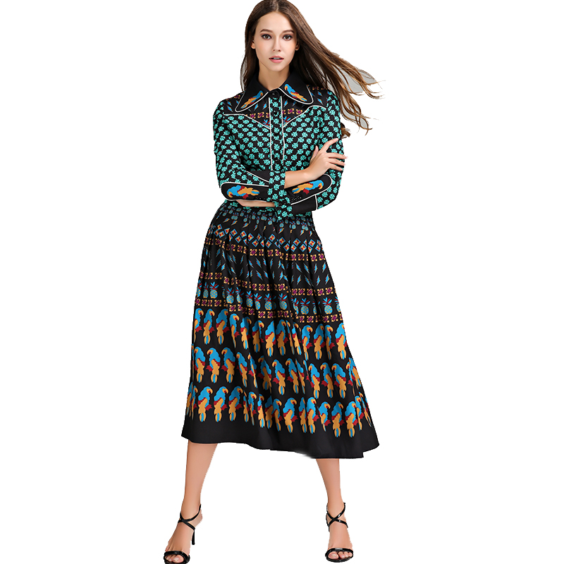 2018 Top Fashion Runway Bohemian Outfit Blouse Pleated Skirt Women Vintage Printed 2 Pieces Set Celebrity Twin Set Plus Size 4XL