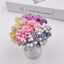 10pcs DIY Scrapbooking Decorative Wreath Fake Flowers Bouquet Artificial Bud Stamen Berry Bacca Flower For Wedding Decoration