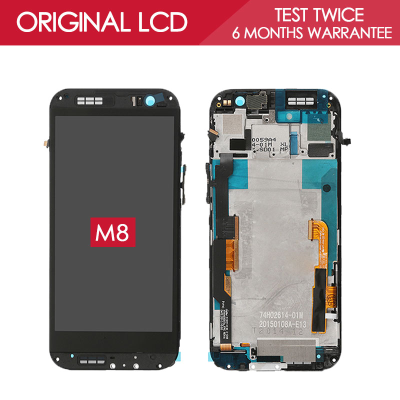 100% Tested Original 4.3 inch LED-backlit 1920x1080 Display For HTC M8 One LCD with Frame Touch Screen Digitizer Replacement<br><br>Aliexpress