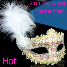 2016 New Arrival!Gold Powder Leather Feather Mask The Marabou Feather Mask,Masquerade Mask, Venice Italy Mask freeshipping