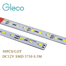 50pcs Super Bright Hard Rigid Bar light DC12V 50cm 36 led SMD 5730 5630 Aluminum Alloy Led Strip light For Cabinet