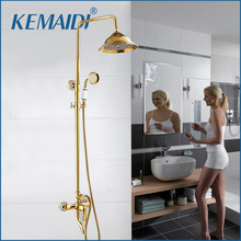 Buy KEMAIDI New Arrival Luxury Wall Mounted Gold Brass Shower Faucet Set Single Ceramic Handle Tub Mixer Hand Shower Spray for $134.99 in AliExpress store