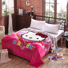 Cartoon Hello Kitty Pattern for Kids Blanket Coral Fleece Travel/ AirPlane/ Bed /Sofa Blanket Bedspreads Big Size 200x230cm(China)