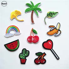 1 PCS Cactus parches Embroidered Iron on Patches for Clothing DIY Stripes Lollipop Clothes Stickers Custom Fruit Badges @I(China)