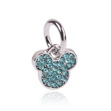 Free shipping 1pc European Silver Crystal Mickey Heanband Hanging Peandant Dangle Bead Charm Fits Pandora Charm Bracelets