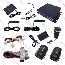 Universal Car PKE Alarm System With Long Push Button  Shock Sensor Remote Start Stop Car Passive Keyless Entry Many Hopping Code