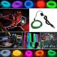 Waterproof 3M Flexible EL Wire Rope Tube Flexible USB LED Neon Light for Dance Party Car Shoes Clothing W/ USB Inverter(China)