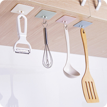 1pcs Self Bathroom Shelves Kitchen Organizer Hanger Adhesive Hooks Stick On Wall shelf Hanging Door Clothes Towel Holder Racks(China)