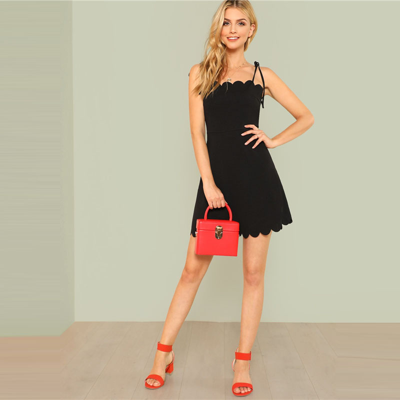 COLROVIE 2018 Fit & Flare Scalloped Bow Tied Cami Dress Summer Spaghetti Strap Sleeveless Female Dress Black Zipper Short Dress 11