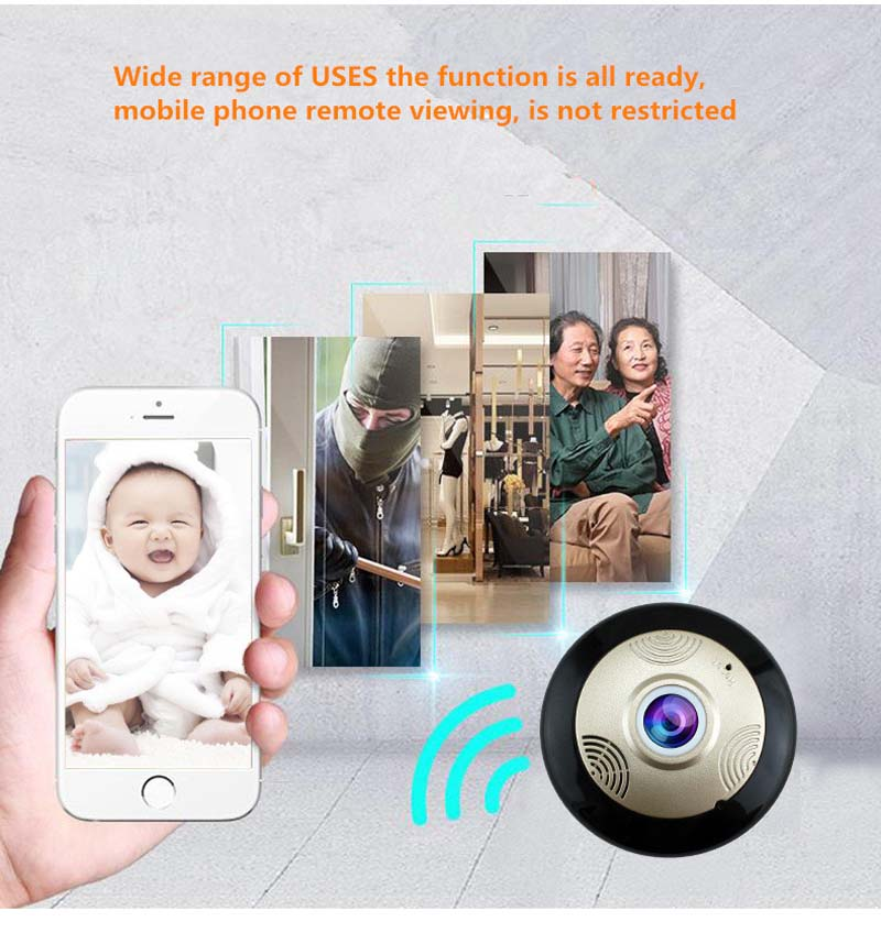 Yilutong  2017 New Arrival 360 Degree Fisheye Panoramic WIFI Camera IP P2P Cam H.264 IR Night Vision CCTV Security Monitoring <br><br>Aliexpress