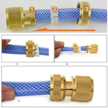 Nrand New Hot Useful Copper Metal Threaded Hose Water Pipe Connector Tube Snap Adaptor Fitting Outdoor