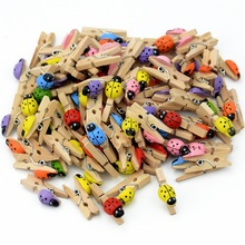 50 pcs Excellent Quality 25mm Mini Ladybug Wooden Clips Clothes Photo Paper Decorations Photo Spring For DIY decorative clip(China)