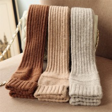 2017 Autumn Winter Women Knitted Wool Gloves Elegant Sweet Lady Fingerless Mittens Thermal Half Finger Long Arm Warmers T221(China)